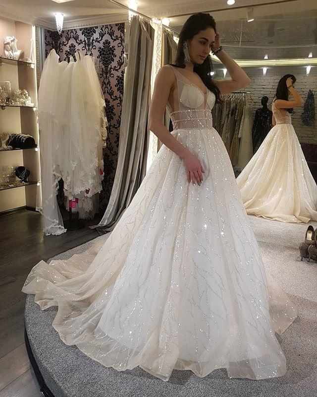 Modern Hochzeitskleider Mit Glitzer | Brautkleid A Linie Online