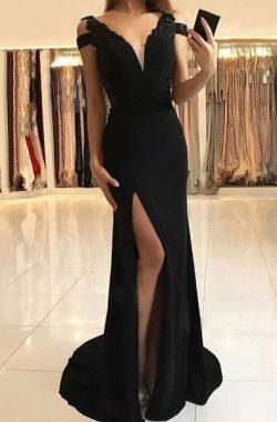 Schlichte Abendkleider Lang Schwarz | Chiffon Kleider Online
