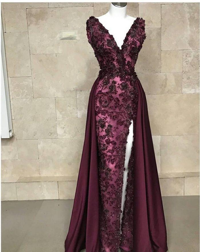 Luxus Abendkleider Weinrot | Spitze Abiballkleider Lang Günstig