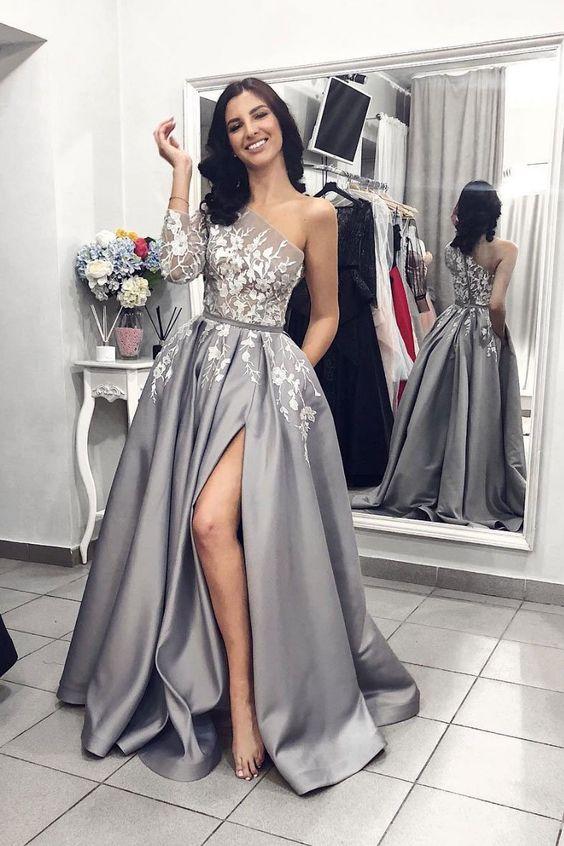 Modern Silber Abendkleider Mit Ärmel | Abendmoden Spitze