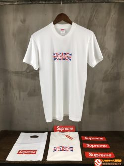 SUPREME ブランド 半袖Tシャツ イギリス国旗 クルーネック supreme ボックスロゴ ホワイト トップス 大 ...