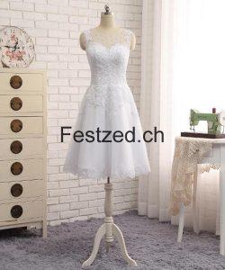 Weiß Perlen Kurze Spitze Brautkleider – Festzed.CH