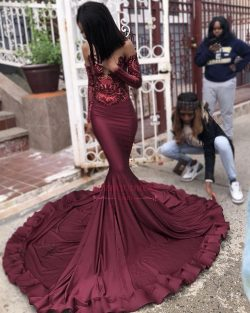 2019 Burgundy Long Sleeves Mermaid Prom Dresses | Cheap Sequins Evening Dresses Online BC1250_Pr ...
