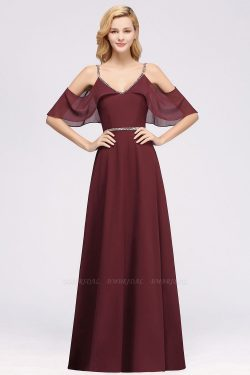 elegant A-line Chiffon V-Neck Spaghetti Straps Sleeveless Floor-Length Bridesmaid Dresses with B ...