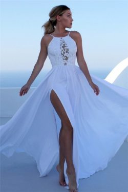 Elegant Lace Appliques Halter Prom Dresses Side slit Sleeveless Evening Dresses with Keyhole | w ...