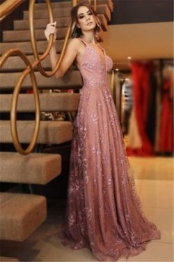 Elegant Pink Lace Appliques Sexy V-Neck Prom Dresses Backless Sleeveless Evening Dresses | www.2 ...