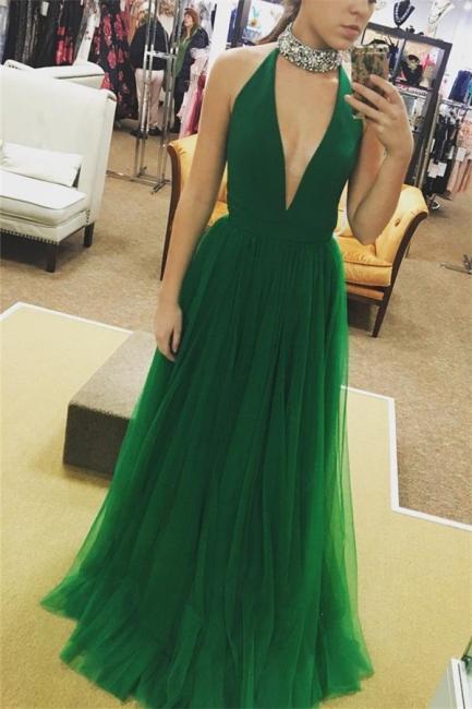 Glamorous Crystal Halter Prom Dresses | Sheer Sleeveless Evening Dresses | Suzhoudress.co.uk