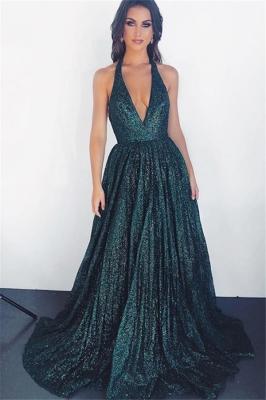 Glamorous Dark Green Halter without Sleeve A-Line Prom Dress UK | www.27dress.co.uk