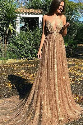 Glamorous Sequins A-Line Long Prom Gowns | 2019 Spaghetti Straps V-Neck Evening Dress | www.baby ...