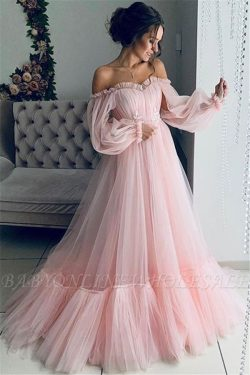 Gorgeous Off-The-Shoulder Long-Sleeves Sheer-Tulle A-Line Prom Dress | www.babyonlinewholesale.com