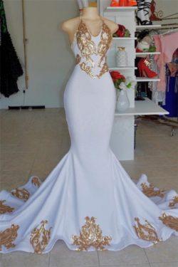Halter Sexy Low Cut Summer Sleeveless Gold Appliques Prom Dress | Suzhou UK Online Shop | Suzhou ...