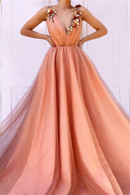 Orange Flower Appliques Straps Summer Sleeveless Quality Tulle Princess A-line Prom Dress | Suzh ...