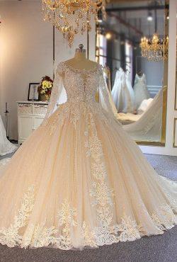 Luxus Brautkleider Spitze Ärmel | Hochzeitskleider A Linie Online
