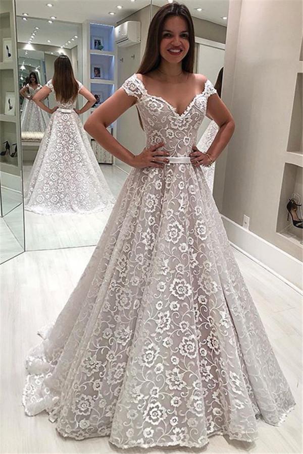 Designer Brautkleid A Linie | Elegante Hochzeitskleider Mit Spitze