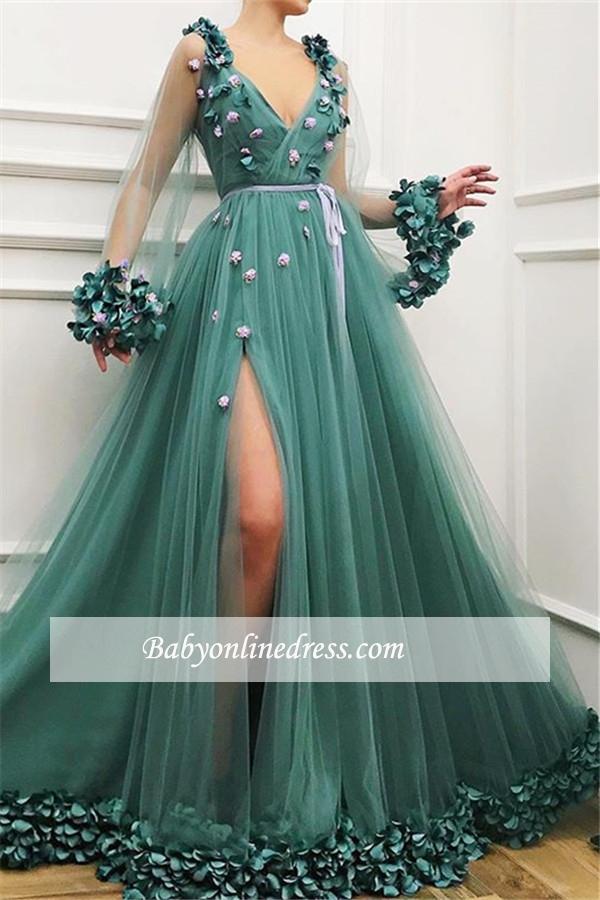 Elegante Abendkleider Lang V Ausschnitt | Grünes Abendkleid