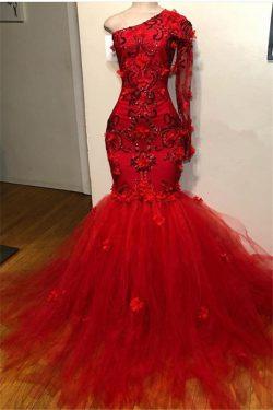 Chic Abendkleider Mit Ärmel | Rotes Abendkleid Lang Online