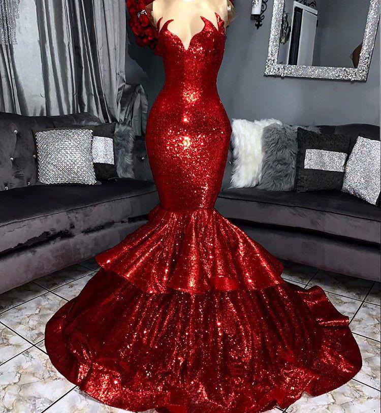 Fashion Abendkleider Lang Rot | Abendkleid Mit Glitzer
