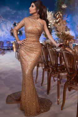 Luxus Abendkleid mit Ärmel | Abendkleider Lang mit Glitzer