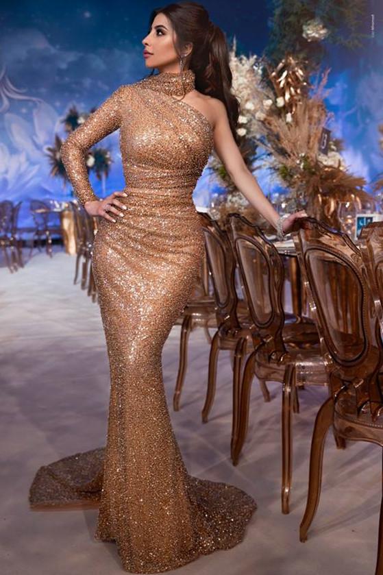 Luxus Abendkleid mit Ärmel   Abendkleider Lang mit Glitzer