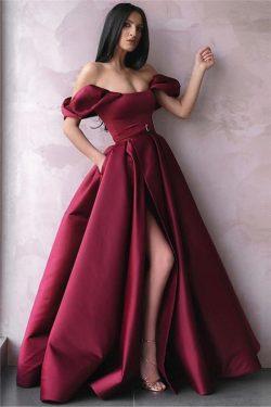 Sexy Abendkleider Lang Weinrot | Abiballkleider Schlicht Online