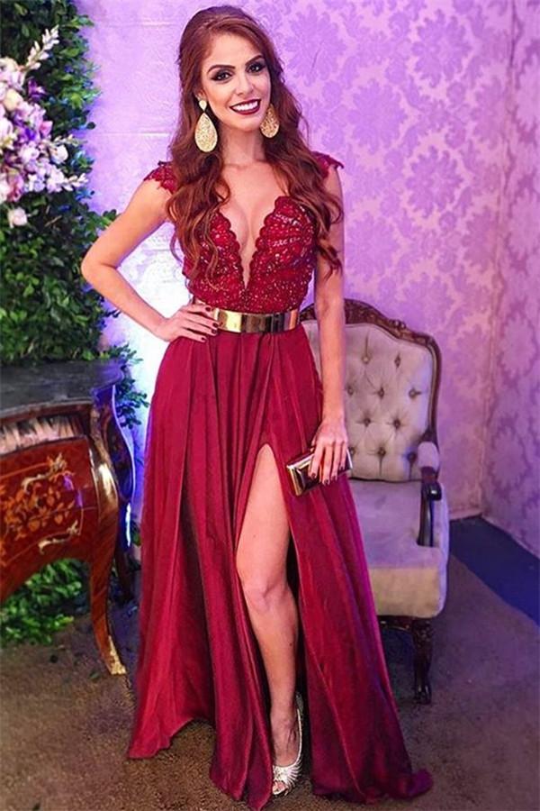 Elegante Abendkleider Lang V Ausschnitt | Abendkleid mit Spitze