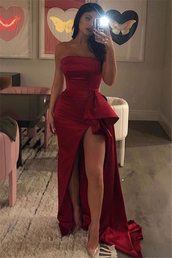 Designer Schlichtes Abendkleid | Abendkleider Lang Rot