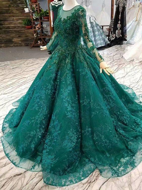 Luxus Abendkleider Mit Ärmel | Grüne Abendmoden Online