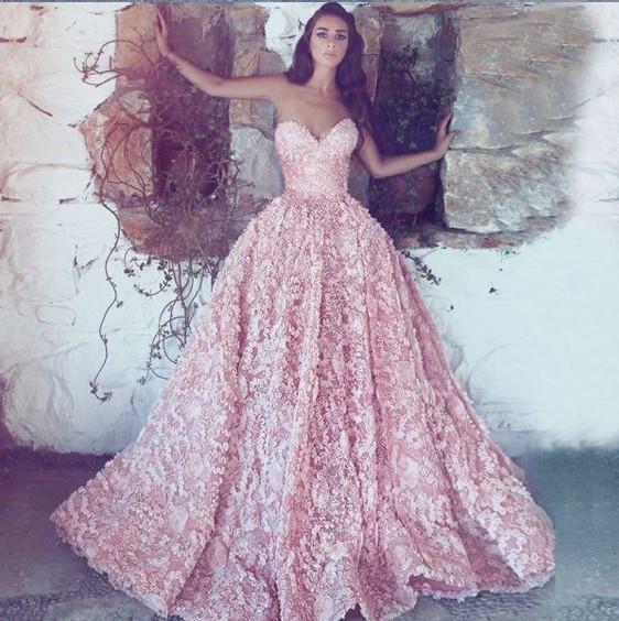 Luxus Abendkleider Lang Rosa | Spitze Abendmoden Online
