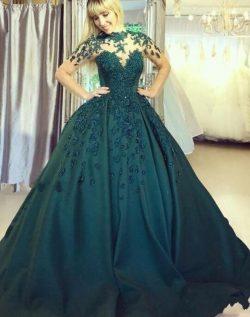 Elegante Abendkleider Lang Grün | Abiballkleider Bodenlang Online