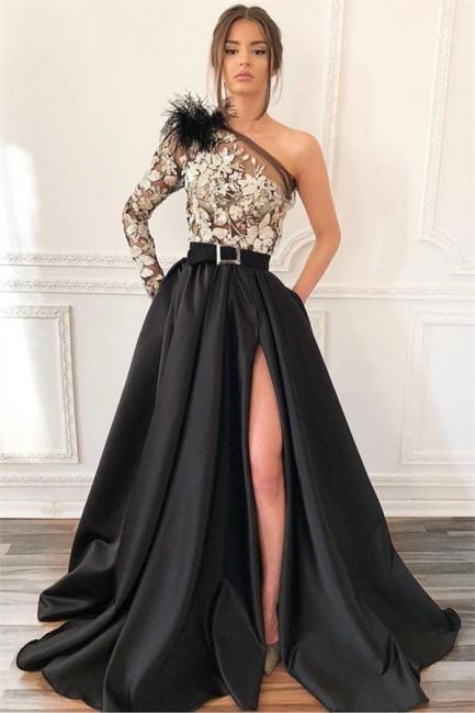 Sexy Blcak One-Shoulder Side-Slit Feather Applique Prom Dress   Suzhou UK Online Shop   Suzhoudr ...