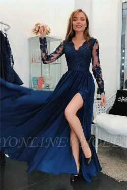 Simple Applique Hot V-Neck Prom Dresses | Side slit Sleeveless Sexy Evening Dresses with Sparkly ...