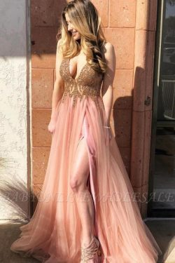 Stunning Sparkly Beads Applique Prom Dresses | Side slit Sleeveless Sexy Evening Dresses | www.b ...