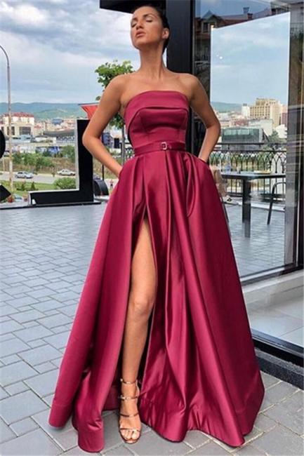 Trendy Burgundy Maroon Strapless Side-Split A-Line Evening Dress UK   www.27dress.co.uk