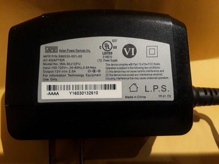 NEW 12V 2.5A APD WA-30J12FU 596530-001-00 AC Adapter