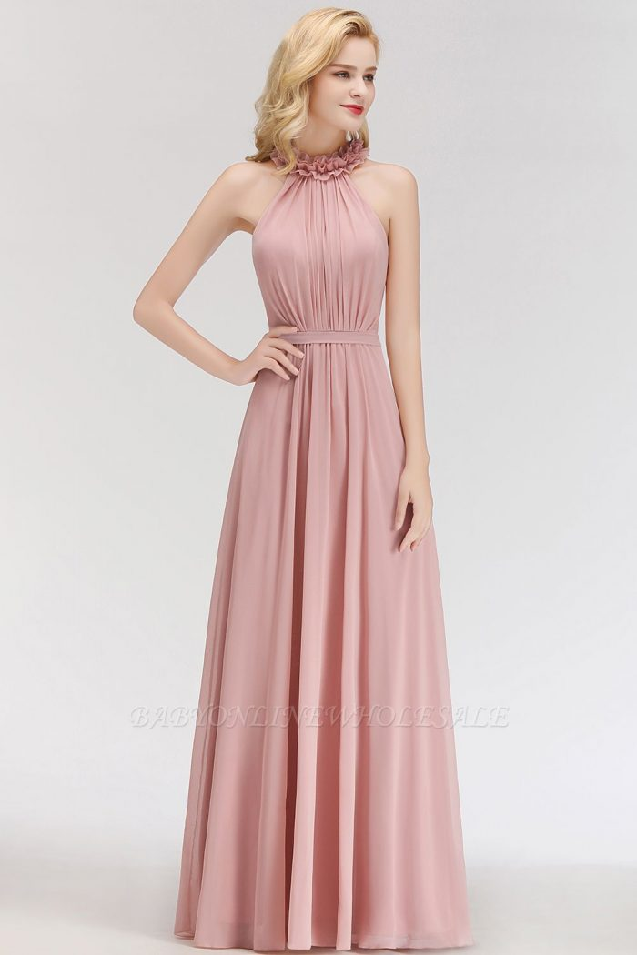 MARGUERITE | A-line Floor Length Halter Sleeveless Ruffled Chiffon Bridesmaid Dresses