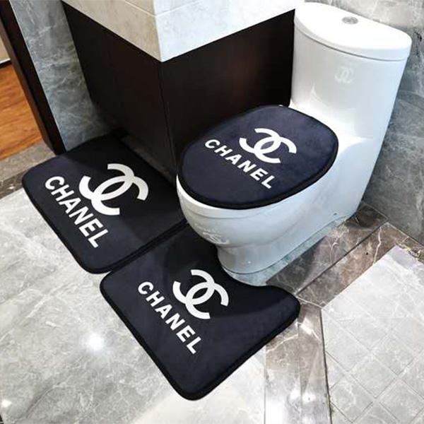 シャネルトイレマット フタカバー U型トイレマット 3点セット ブランド 長型トイレマット おしゃれ ht ...