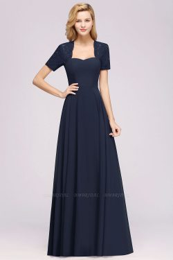 A-Line Chiffon Square Short Sleeves Bridesmaid Dress with Ruffle | BmBridal