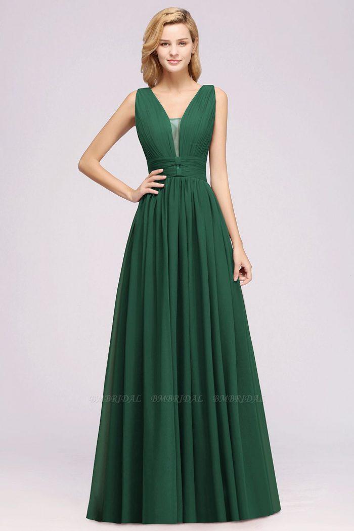 A-Line Chiffon V-Neck Sleeveless Long Bridesmaid Dress with Ruffles | BmBridal