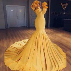 Fashion Petal Sleeves Mermaid Prom Dresses | V-Neck Tiered Long Evening Dresses CD0428