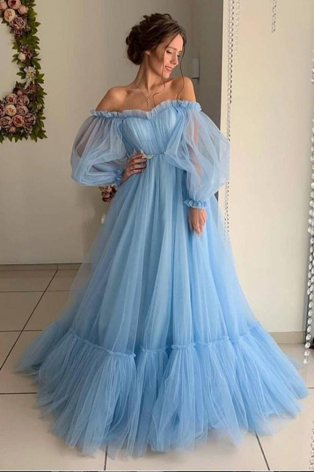 Ball Gown Blue Tulle Prom Dresses, Long Sleeve Off the Shoulder Quinceanera Dresses on sale – Pr ...