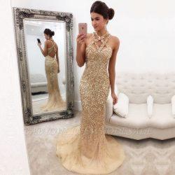 Luxus Abendkleider Lang Günstig | Abendkleid Gold Online