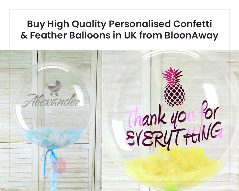 Buy High Quality Personalised Confetti & Feather Balloons in UK from BloonAway