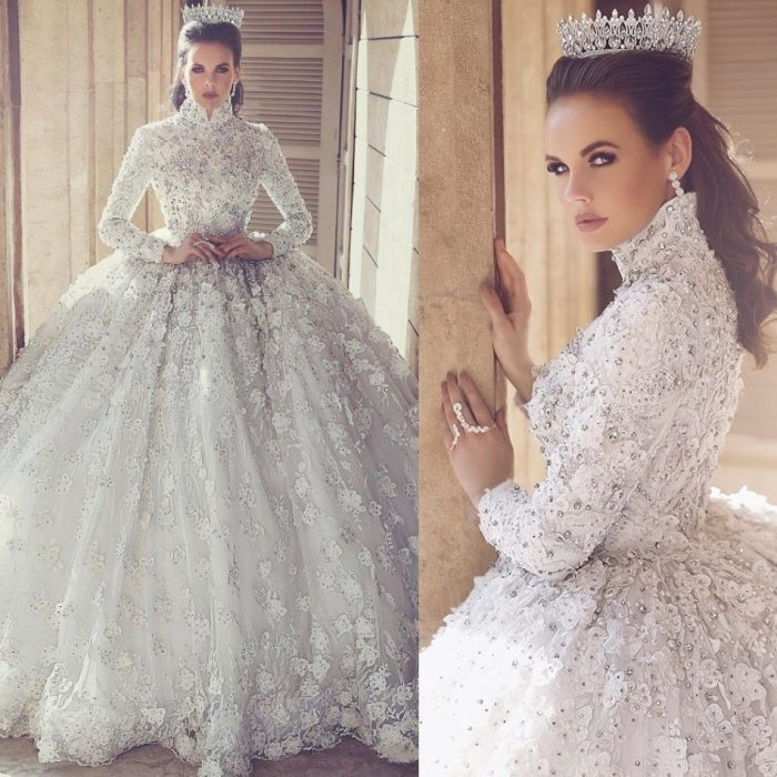 Luxury Long Sleeves Muslim Wedding Dresses | High Neck Lace Appliques Beaded Ball Gown Wedding D ...
