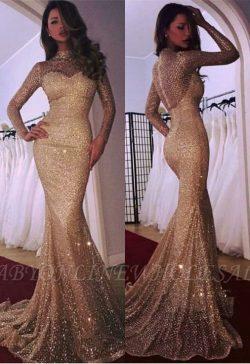 Elegante Abendkleid Gold | Abendkleider Lang Glitzer Mit Ärmel