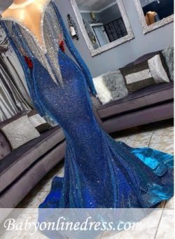 Glamorous Blue Mermaid Prom Dresses | Long Sleeves Evening Gowns with Tassels_Prom Dresses_Buy H ...