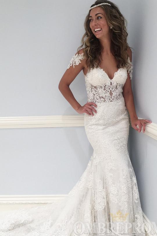 Gorgeous V Neck Lace Sweep Train Mermaid Wedding Dress W762