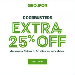 Groupon DoorBusters Extra 25% OFF UAE