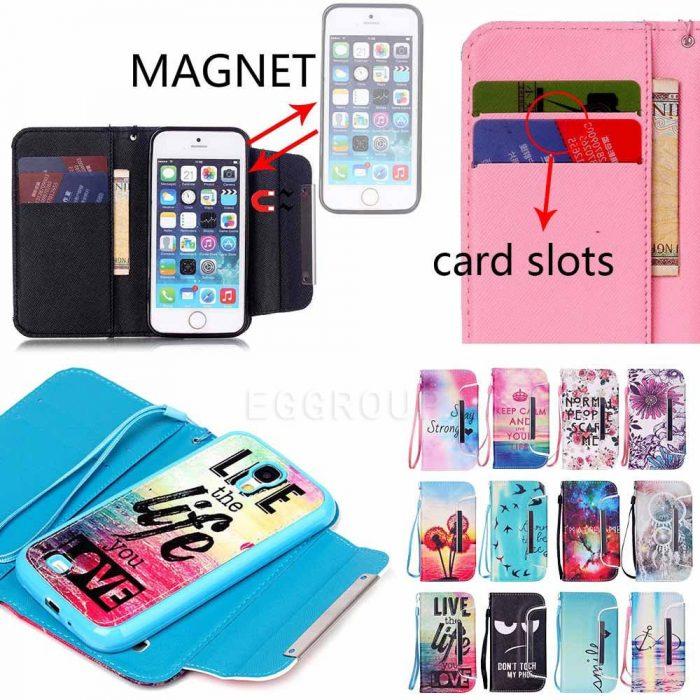 Magnetic Wallet Flip Card Case For iPhone 6/6S Plus 5 5S SE 5C 4S