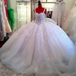 Ceystal Ball-Gown Straps Beading Sparkly Puffy Luxurious Lace Wedding Dress