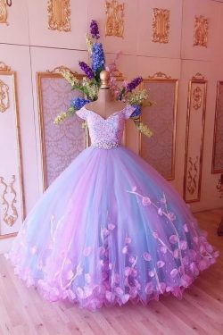 Princess Pink and Blue Ball Gown Off the Shoulder Prom Dresses,Quinceanera Dresses on sale – Pro ...